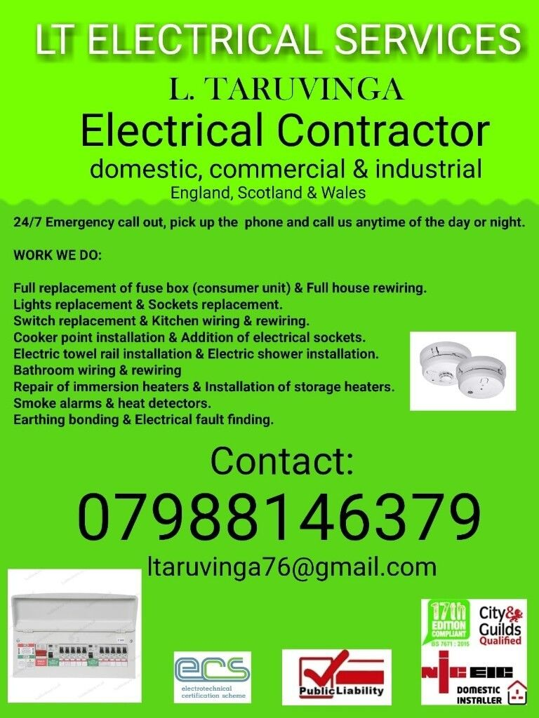 Qualified Electrician With 17th Edition 24hr Emergency Call Out Consumer Unit Fuse Box Sits Between The Electricity Meter And 07988146379 Available 24 7
