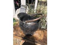 large copper coal scuttle prop planter ornament decoration