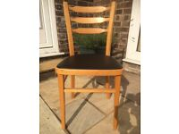 Chairs: Set of 4, Good Condition, Beech frame with black vinyl padded seat 82cm x 39cm x 39cm