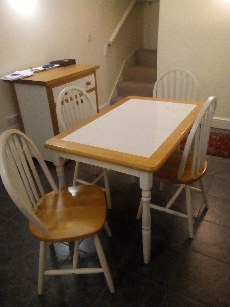 Dining Table And 4 Chairs White Tiled Top 48 X 30