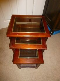 Nest of three side tables - glass top
