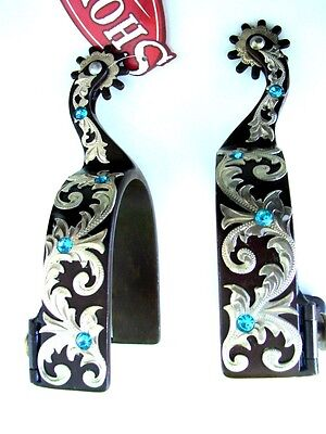 BLUE BLING WESTERN Brown SPUR SPURS SHOW RODEO FILIGREE FLORAL Crystal SHOWMAN