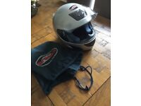 Silver and black arashi motorcycle helmet Size 56 (Small ) Like new
