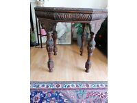 Antique wooden hexagon table by W Wallace
