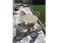 Aluminium Shabby Chic Vintage Table + 4 Chairs