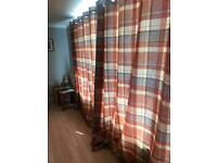 Next tweedy rusty check heavy curtains and matching cushions