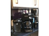 Bosch coffee pod machine, Delonghi filter coffee make and sugar, tea and coffee jars