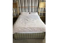 Divan double bed with headboard and underbed storage