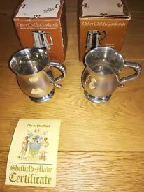 Pewter Tankards 1/4 Pint x 2 Boxed