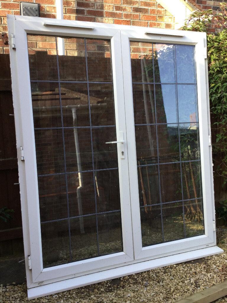 Upvc double glazed french patio doors leaded white for Reclaimed upvc french doors
