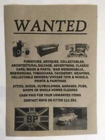 Wanted! Furniture Antiques Collectables