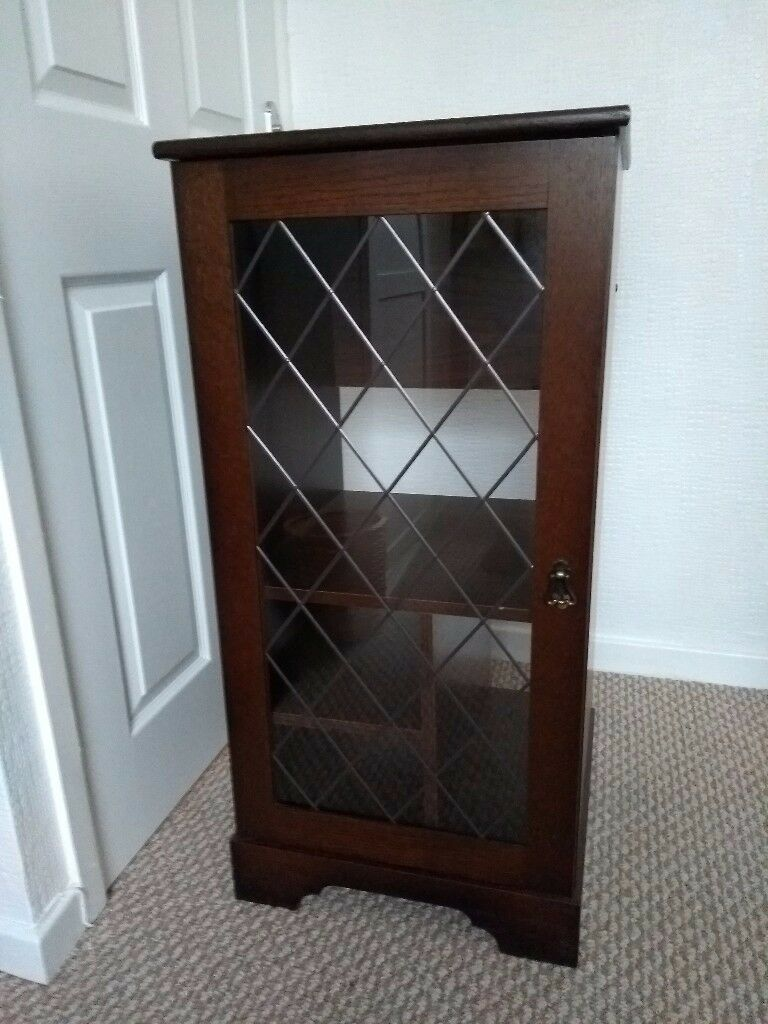 Mahogany Hifi Cabinet With Leaded Glass Door In Huddersfield West