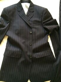 Mens' Suit 100% Wool super 110's dark blue with striped