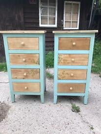 Stunning pair of Teal painted bedside chests