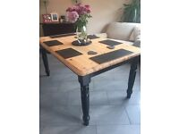 Stunning farmhouse country modern dining table black gloss legs EXCELLENT CONDITION