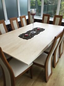 Marble dining table and chairs - excellent condition