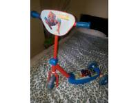 Toddler Spiderman scooter hardly used in good condition
