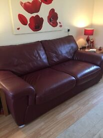 Stokers bed settee with 1 chair, dark red/maroon. few scuff marks due to moving otherwise in ex cond