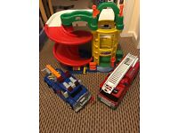 Fisher price Garage with 2 large vehicles fire engine and breakdown lorry