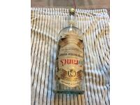 """20"""" VINTAGE GLASS COIN BOTTLE. GRANTS WHISKEY LABEL LEFT (can be removed) NO CHIPS."""