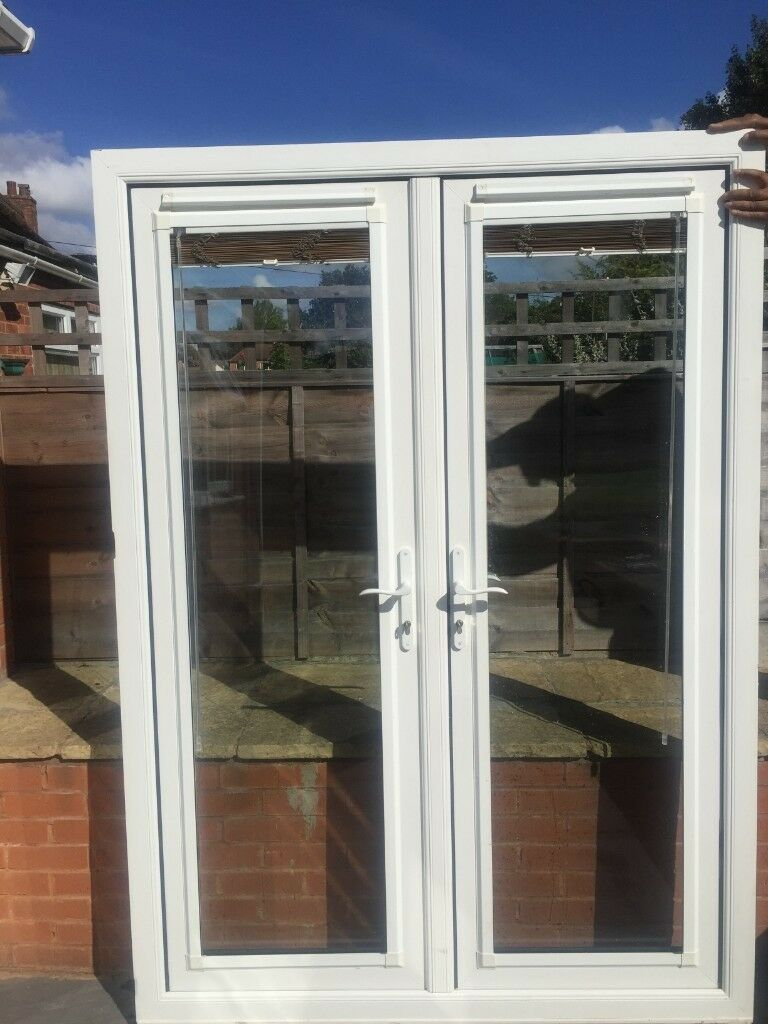 Upvc Double Glazed French Patio Doors With Blinds 149cm W 210cm H