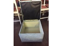 Pale green material 3-seater sofa, armchair and lift up box stool