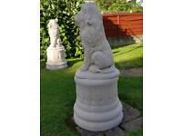 Lions on column Plinths ;cast stone garden ornament