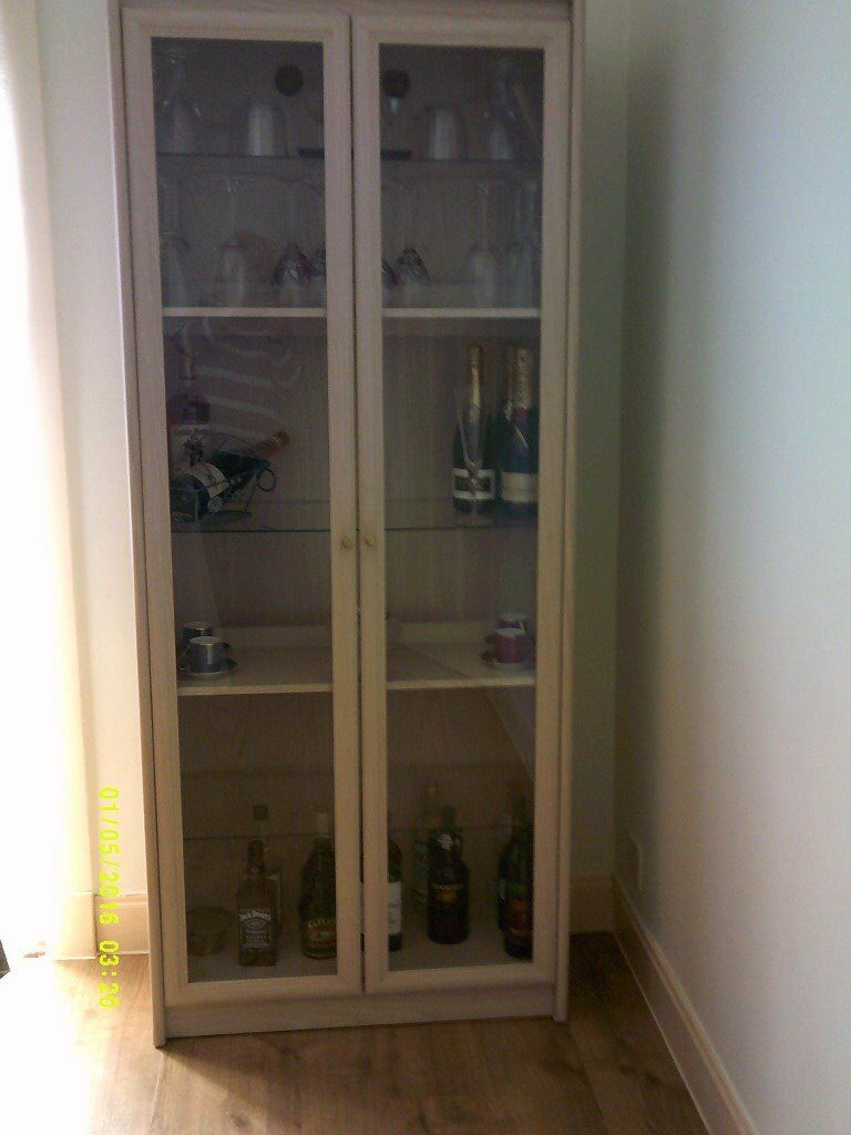 Glass Display Cabinet in Limed Oak