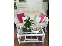 Conservatory Cane Furniture Set - Sofa, Armchair and Table