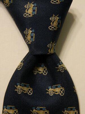GUCCI Vintage Mens 100% Silk Necktie ITALY Luxury ANTIQUE CARS Blue/Tan GUC Rare