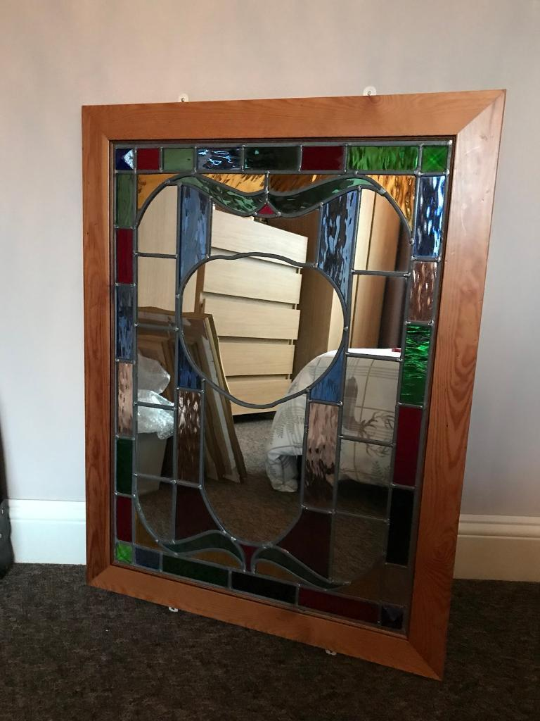 Stunning Framed Stained Gl Mirror