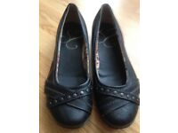 Lovely black leather flats - size 9eee (Clarks or Essence)