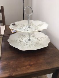 Real Silver & Glass Cake or Cupcake Stand / Etagere