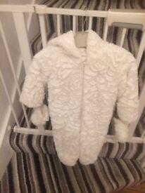 Designer baby fur snowsuit (John rocha) age 12-18 months