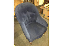 Sweet Antique Victorian Buttoned Back Occasional Accent Bedroom Lounge Chair