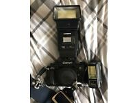 Canon A-1 A 1 retro camera with Cobra flash mount and bag