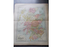 bundle of 6 vintage maps of countries