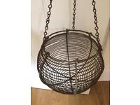 Victorian hanging chicken hen house gathering egg basket .