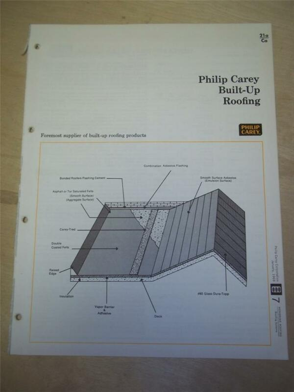Philip Carey Corp Catalog~Asbestos~Built-Up Roofing/Flashing~1969