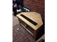 Park Furnishers corner tv unit oak and black slate