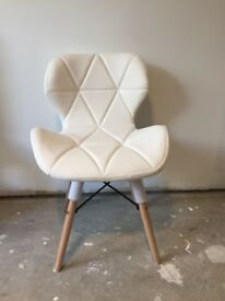 1x Eiffel Retro Style Dining Office Chair Wooden Legs Lounge Padded Seat White