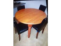 Solid pine table and four faux chairs