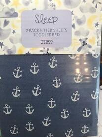 Set of two fitted cot bed sheets, new