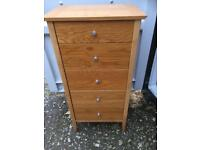 Heavy sturdy tall chest of drawers
