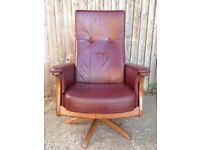 Ercol Gina Reclining - recliner Armchair in dark red leather