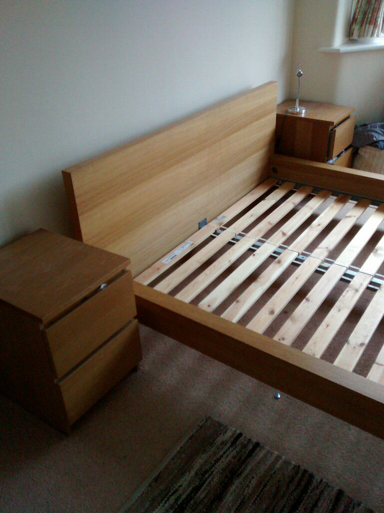 IKEA MALM king size bed and matching side cabinets