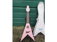 Pink Mahalo Flying V Ukulele + Carry Case. Excellent condition.