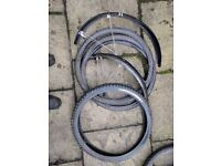 Selection of 26 inch bike tyres and SKS mudguards