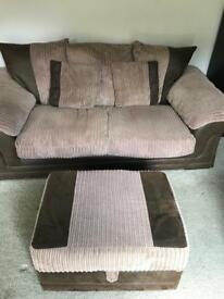 Two seater sofa, chair and ottoman