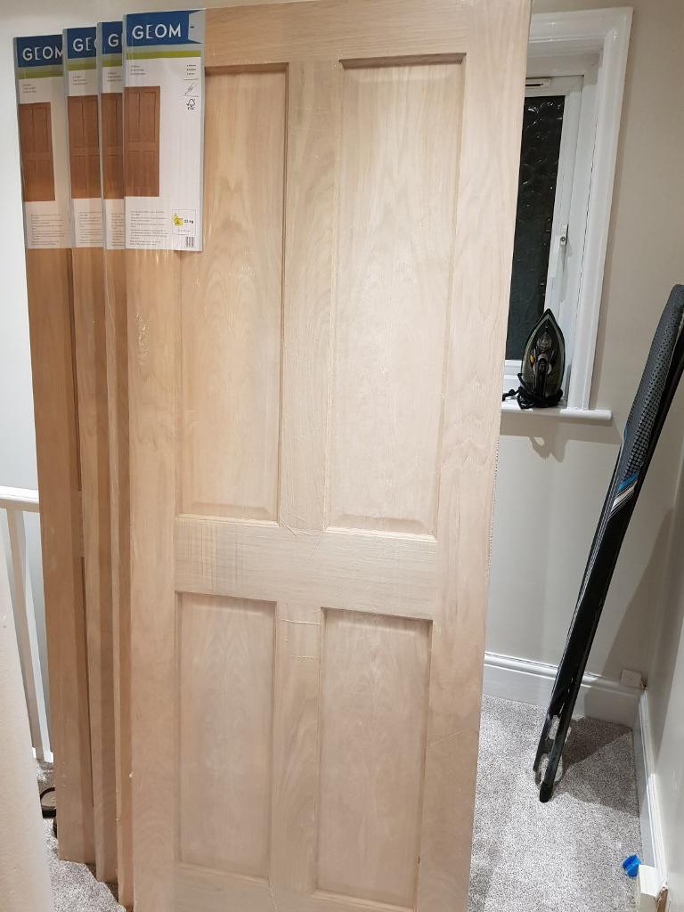 4 Panel Oak Veneer Unglazed Internal Standard Door, (H)1981mm (W)762mm x 4 doors